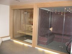 Steam room and sauna Saunas, Home Steam Room, Sauna Steam Room, Home Spa, At Home Gym, Sauna A Vapor, Private Sauna, Sauna Seca, Beach Cottages