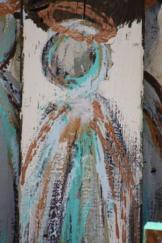 angels on old wood>> THESE PAINTINGS ARE VERY NICE AND DIFFERENT. THE PRICE TAG IS A LITTLE HEFTY FOR MY THRIFTINESS. I SAY GET INSPIRED AND PUT YOUR OWN SKILLS TO WORK! THAT WAY, THE PAINTING IS YOUR OWN PERSONAL STYLE AND ALSO HAS MEANING TO YOU! ~THM