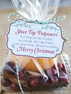 Potpourri  Share the gift of Christmas scent with your neighbors! A package with an orange, cranberries, and cinnamon inside is a simple gift and easy for your neighbors to use. There are also lots of other potpourri mixes if you want to try a different one.