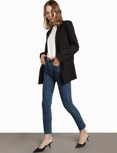 classic black blazer, white tee, skinny jeans and Dior slingback kitten heels
