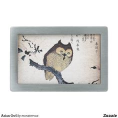 Asian Owl Rectangular Belt Buckles #Owl #Bird #Fashion #Japan #Japanese #Asian #Belt #Buckle