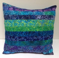 Blue and Green Stripe Patchwork Quilted Pillows