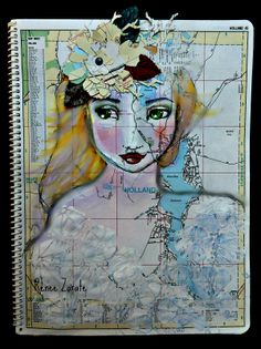 "Using Jane Davenport's face stencil to create ""Holland"" map art by Renee Zarate."