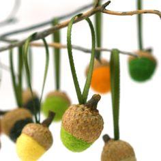 Acorn Ornaments Wool Needle Felt  Woodland Autumn