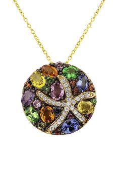 Watercolors Multi Sapphire & Diamond Starfish Pendant
