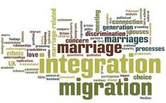 "This board uses all the terms associated with marriage migration and its implications. It is clear to see how ""integration"" is one of the main words, and this is particularly true because that is the hardest for most marriage migrations and finding their place in their new situated life (society/class/ethnic groups). Migrants often struggle the hardest in trying to fit in and belong to their new homes of marriage. Positive And Negative, Love And Marriage, Ethnic, Asia, Positivity, Homes, Board, Life, Houses"