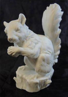 Vintage Kaiser White Bisque Porcelain Squirrel Figurine Signed