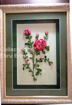 Framed Ribbon Rose Branch Embroidery Floral by RainbowJus on Etsy