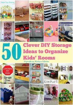 50 Clever DIY Storage Ideas to Organize Kids' Rooms #organization #organizationtips #organizationwithkids