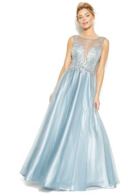 Xscape Betsy & Adam Illusion Embellished Sweetheart Gown in Blue (Baby Blue)