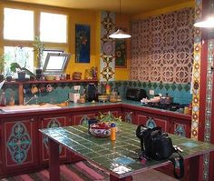 ⋴⍕ Boho Decor Bliss ⍕⋼ bright gypsy color hippie bohemian mixed pattern home decorating ideas - kitchen