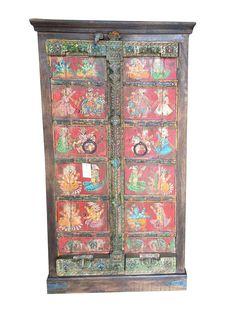 Antique Indian Wardrobe Hand painted Ganesha Sabby Chic