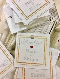 Simple and classy pearlux cream wedding gift tags, in double glittery gold borders. #weddinggifttags #thankyouweddinggiftcards #thankyougiftcards #pearluxe #pearlux #stickerlicioussg