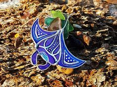 Stained Glass Brooch Manta ray Glass Art Jewelry