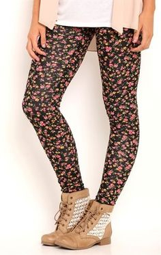 Deb Shops Leggings with Small Floral Print $16.00