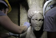 Fever mounts as stunning statues found at ancient Greek tomb. Two statues of a Caryatid inside the Kasta Tumulus in ancient Amphipolis, nothern Greece, September, Archaeological Discoveries, Archaeological Finds, Ancient Tomb, Ancient Artifacts, Ancient Mysteries, Statues, Monuments, Alexandre Le Grand, Macedonia Greece