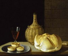 [ S ] Sebastian Stoskopff - Still life with wine and pies on a pewter plate (c.1620)