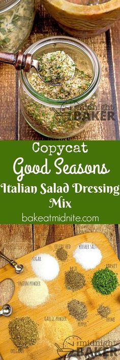 copycat of Good Seasons Italian dressing mix that's inexpensive to make. You won't buy it again!A copycat of Good Seasons Italian dressing mix that's inexpensive to make. You won't buy it again! Homemade Dry Mixes, Homemade Spices, Homemade Seasonings, Do It Yourself Food, Salad Dressing Recipes, Salad Dressings, Italian Salad, Spice Mixes, Spice Blends