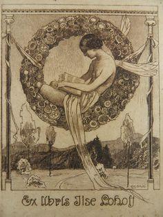 """Ex Libris é uma frase em latim, que significa, literalmente, """"a partir dos livros"""". Ele é frequentemente usado para indicar a propriedade de um livro.    (img:A Polar Bear's Tale: Ex Libris by Alfred Liebing, ca. 1910-20)"""