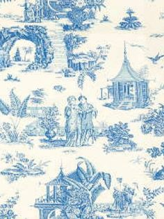Lee Jofa Fabric - Le Paradis Toile Blue - $188.99 Per Yard #interiors #historical   #inspiration #french