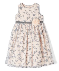 This Gray & Peach Floral A-Line Dress - Infant, Toddler & Girls is perfect! #zulilyfinds
