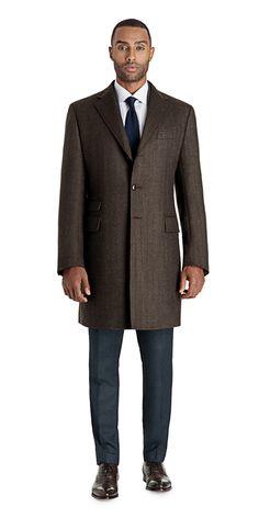 Brown Herringbone - Brown Herringbone Single Breasted Topcoat | Black Lapel