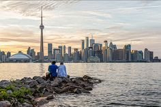 water and rocks, would avoid putting in the skyline  toronto islands a view of Toronto skyline from blogto.com