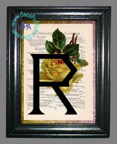 Letter R with a Yellow Rose - - Vintage Dictionary Book Page Art-Upcycled Page Art,Wall Art,Collage Art, Yellow Flower, Green Leaves by CocoPuffsArt on Etsy