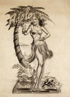 Cardwell S. Hawaii Tattoos, Hula, Art Google, Cartoon Art, Comic Art, Pin Up, Art Gallery, Comics, Drawings