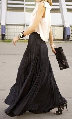 White blouse with black pleated maxi. Stunning.
