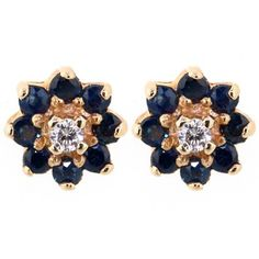 Round Sapphire & Diamond Stud Earrings