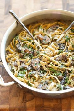 "Creamy Mushroom Fettuccine - Pinner says: ""The creamiest mushroom alfredo sauce you will ever have - a sauce so good, you'll want to slurp it with a spoon!"""