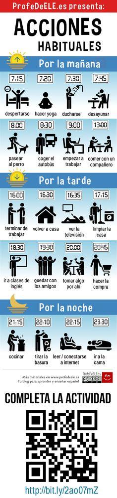 Vocabulario de las acciones habituales. Actividad: http://bit.ly/2ao07mZ (A1/A2)   Más materiales en www.profedeele.es