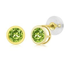 Promise Rings Simple | 060 Ct Round 4mm Natural Green Peridot 14K Yellow Gold Stud Womens Earrings * Be sure to check out this awesome product. Note:It is Affiliate Link to Amazon.