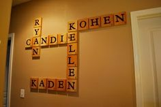 "Cute idea: Extra Large Scrabble Pieces wall decor   my family's names,   use stripped fir wood, that was 1/2"" think. Cut them in to 5"" squares, used the handy cricut to cut out vinyl letters or buy them already cut. Put a coat of mod podge ..."
