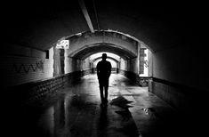 #alone #architecture #black #black and white #black and white #brickwall #dark #graffiti #monochrome #passage way #path #pathway #person #silhouette #solo #stonewalls #street art #tunnel #underground #underpass #vand