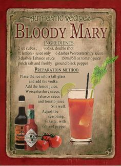 Bloody Mary Cocktail Recipe,Cafe Pub, Hotel, Man Shed,Home Decor:Metal Sign Gift Liquor Drinks, Cocktail Drinks, Cocktail Recipes, Alcoholic Drinks, Margarita Recipes, Beverages, Bloody Mary Ingredients, Bloody Mary Recipes, Bloody Mary Zing Zang Recipe