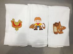 Cowboy baby burp cloth set 3 by 4my4creations on Etsy, $13.50