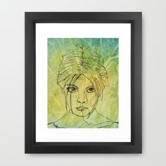 See the Potential in Me Framed Art Print by Mike Brennan - $35.00 #Woman #Face #Line #art #Drawing #Watercolor #Green #Contour #girl #lady #female