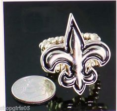 NEW!! FLEUR DE LIS STRETCH RING- GOLD TONE-SMALL