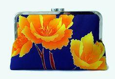 Blue Silk Clutch Purse With Orange Peony by SimplySilkScarves