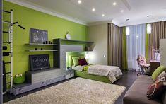 <p>Автор проекта: Алеся Сахно</p> <p>В оформлении детской спальни дизайнеры поработали цветом и фактурами. В качестве цветовой гаммы было выбрано гармоничное сочетание зеленого с разными оттенками бежевого. Одну из стен покрасили в модный зеленый оттенок молодой травы. Уюта добавили с помощью мягкого фактурного ковра сливочного цвета.</p>