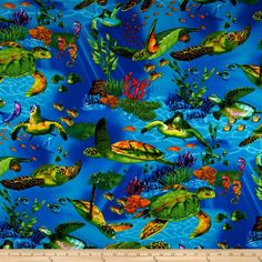 Timeless Treasures Sea Turtles Dark Blue from @fabricdotcom  Designed by Michael Searle for Timeless Treasures, this cotton print fabric is perfect for quilting, apparel and home décor accents. Colors include bright green, yellow, blue and turquoise.
