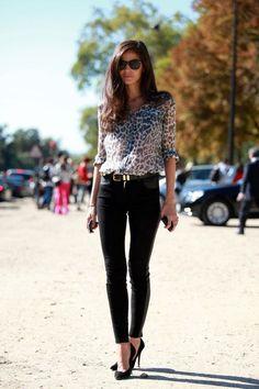 leopard print blouse, black skinnies and heels