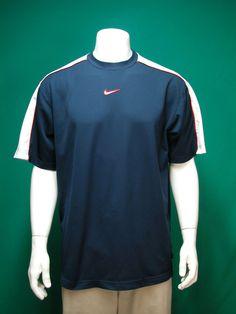 75f220ce Mens Vintage NIKE Swoosh SS Navy/White Running Athletic Training Shirt XL # Nike #