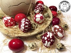 SHADES OF RED and white Easter eggs on real eggshells Easter | Etsy Easter Table Decorations, Table Centerpieces, Handmade Home, Etsy Handmade, Easter Toys, Lace Decor, Handmade Ornaments, Shades Of Red, Easter Baskets