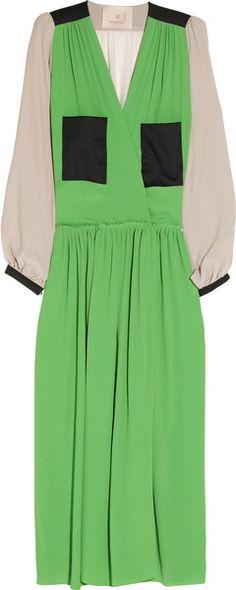 Roksanda Ilincic Green ColorBlock SilkBlend Dress