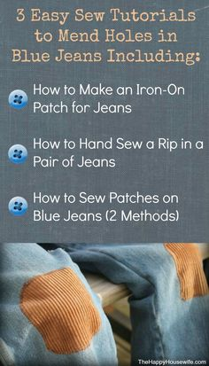 to Mend Holes in Blue Jeans If I want holes in blue jeans all I need to do is let my boys wear them for a few days. They are always getting holes in their jeans, especially in the knee area! So what's a mom to do? Mend them! Sewing Jeans, Sewing Clothes, Diy Clothing, Sewing Hacks, Sewing Tutorials, Sewing Projects, Diy Projects, Project Ideas, Sewing Patterns