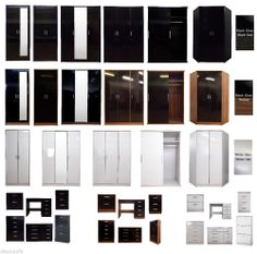 3 Colours - High Gloss 2 / 3 Door / Sliding / Corner Wardrobe Chest Bedside Set