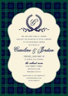 Classic Black Watch Tartan plaid wedding rehearsal dinner invitation in navy and hunter green. www.littlewordsdesign.com
